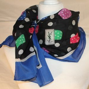 Yves Saint Laurent black & blue scarf, 35x33